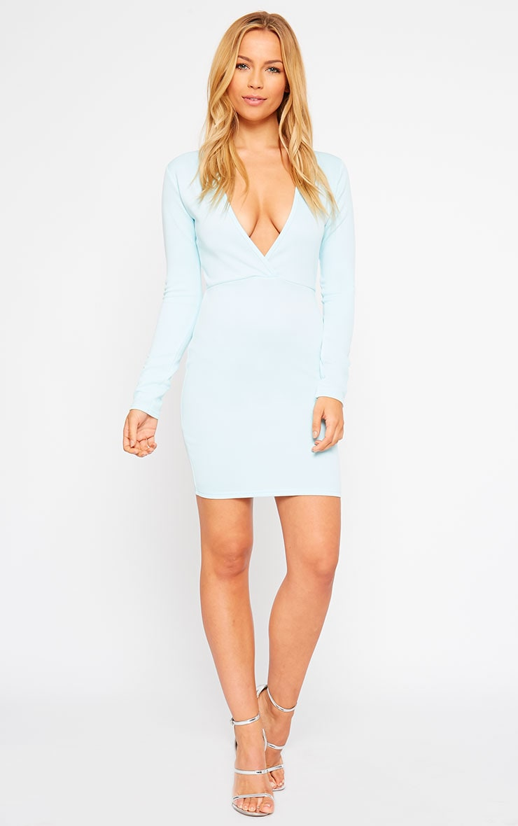 Cici Powder Blue Scuba Plunge Neck Dress 3