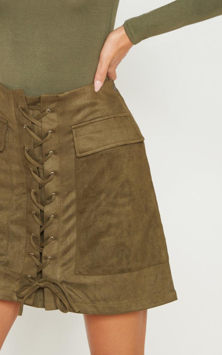 Khaki Faux Suede Lace Up Detail Mini Skirt 6