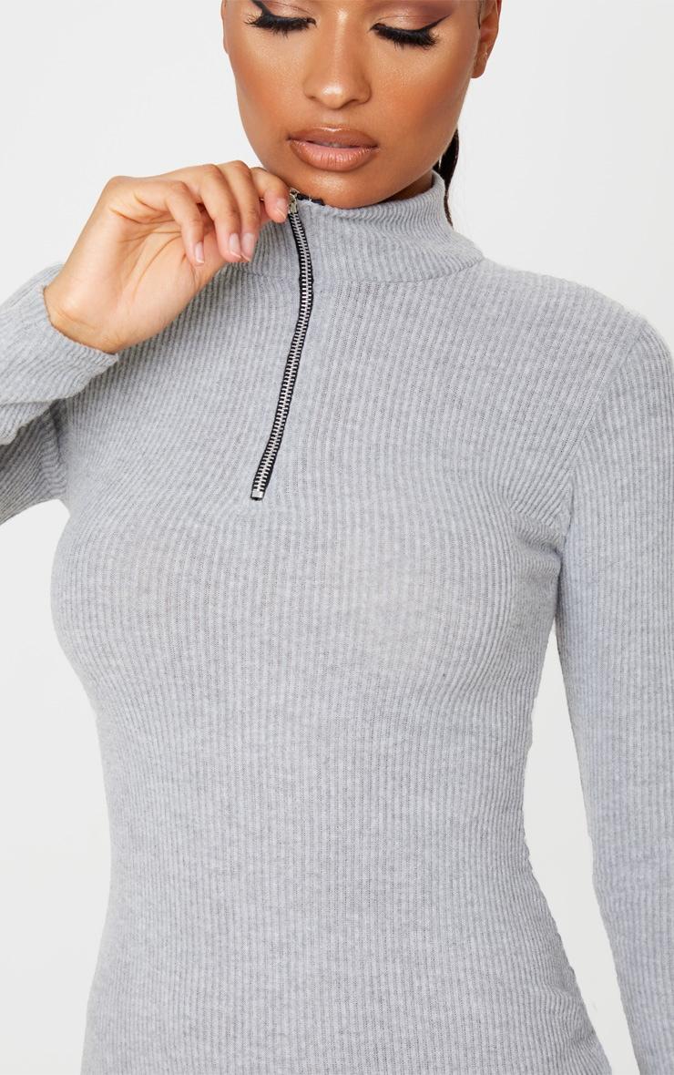 Grey Brushed Rib Long Sleeve Zip Front Bodycon Dress 5
