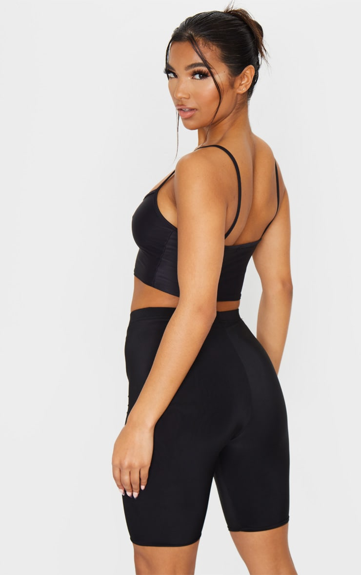 Black Stretch Slinky Scoop Neck Crop Top 2