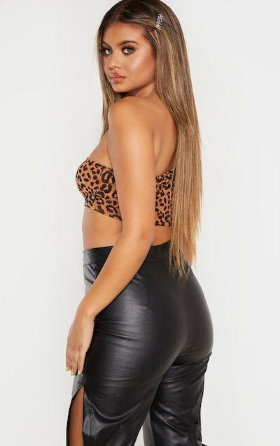Basic Tan Leopard Printed One Shoulder Strappy Crop Top
