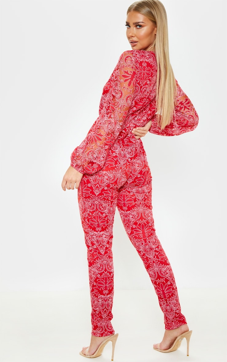 Red Sheer Paisley Long Sleeve Jumpsuit 2
