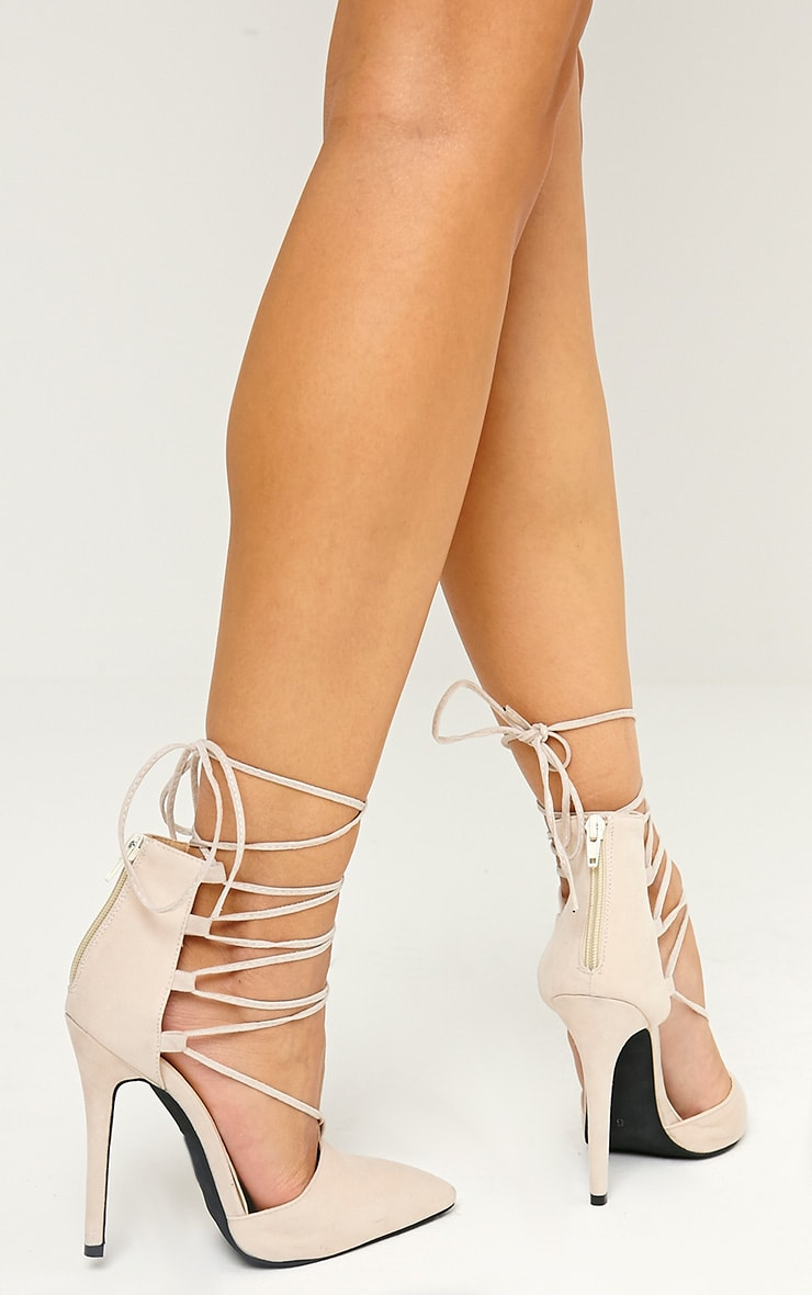 Bali Nude Faux Suede Pointed Strappy Lace Up Shoes 3