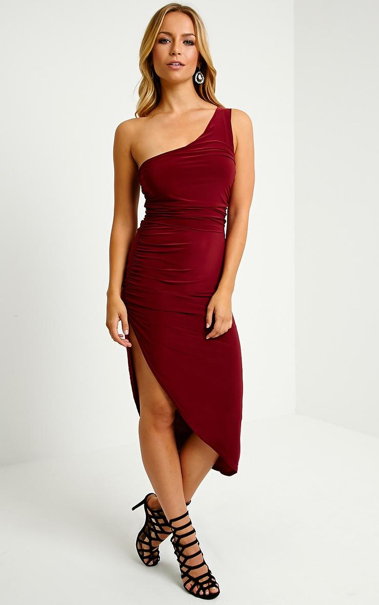 Lourdes Oxblood One Shoulder Side Ruched Dress 1