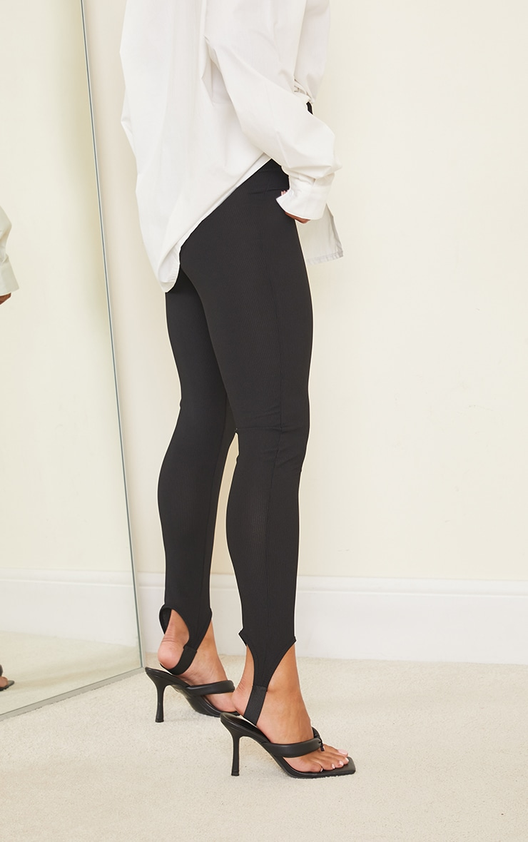 Black Ribbed Stirrup Leggings 3