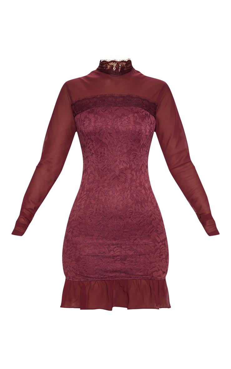 Burgundy High Neck Lace Long Sleeve Bodycon Dress 3
