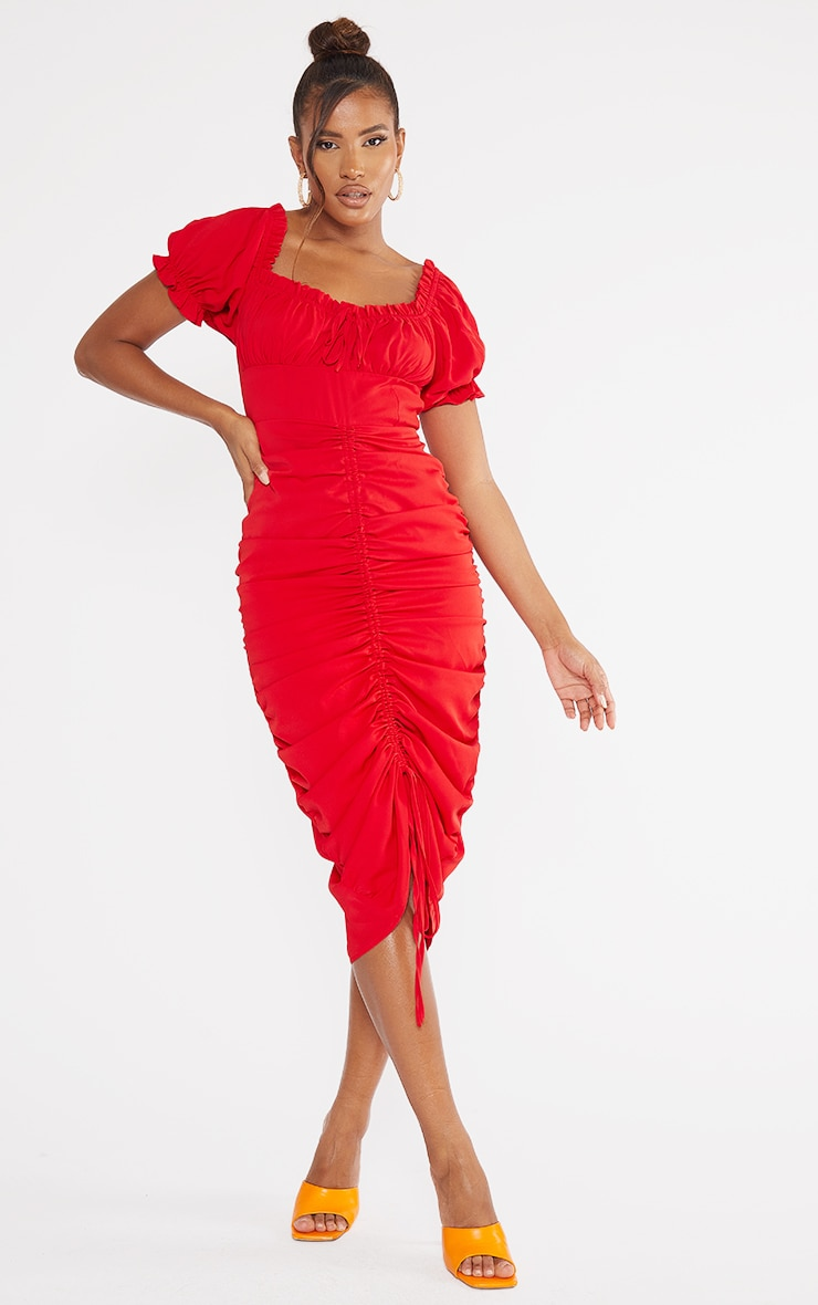 Red Broderie Anglaise Ruched Centre Bardot Midi Dress 1