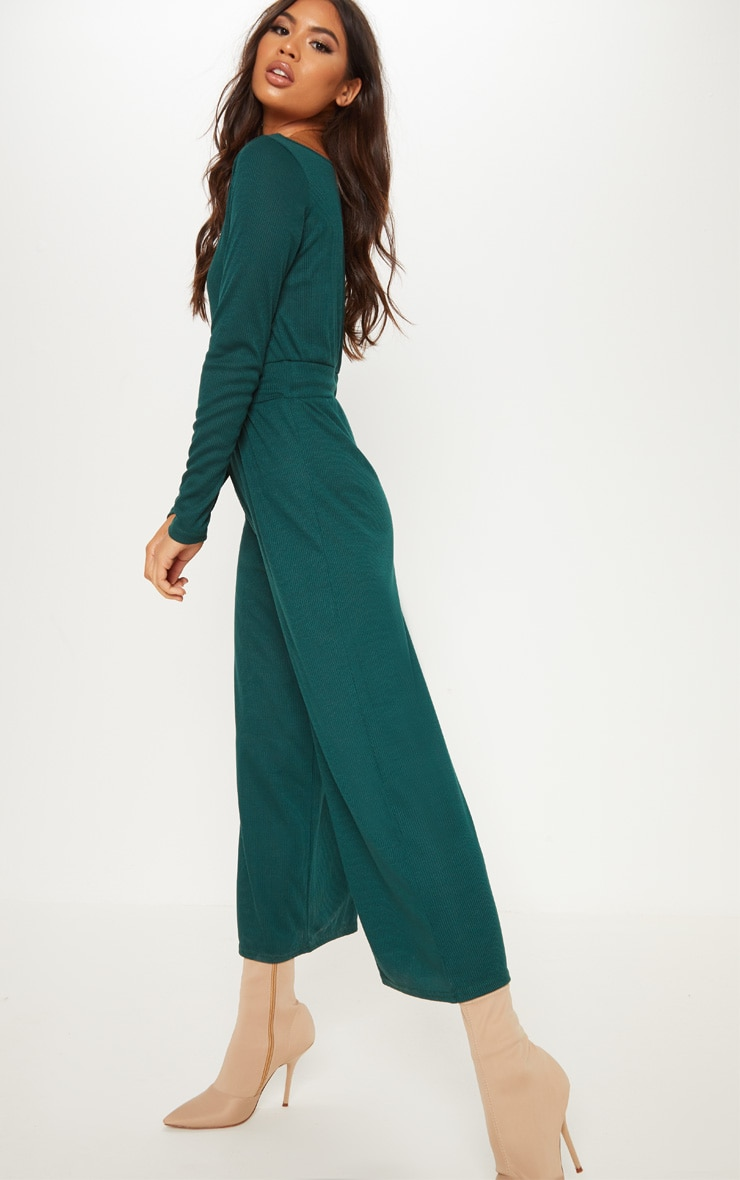 Emerald Green Rib Off Shoulder Culotte Jumpsuit 4