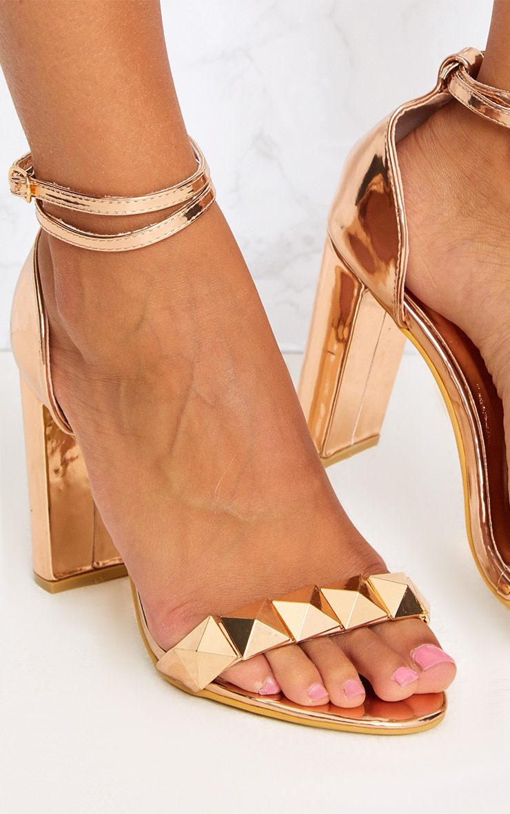 Rose Gold Pyramid Studded Block Heels 5