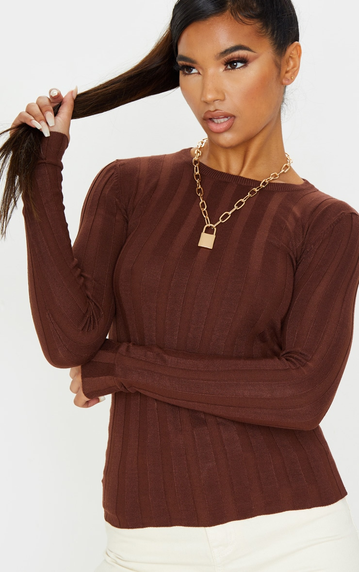 Brown Wide Knitted Rib Fitted Top 5