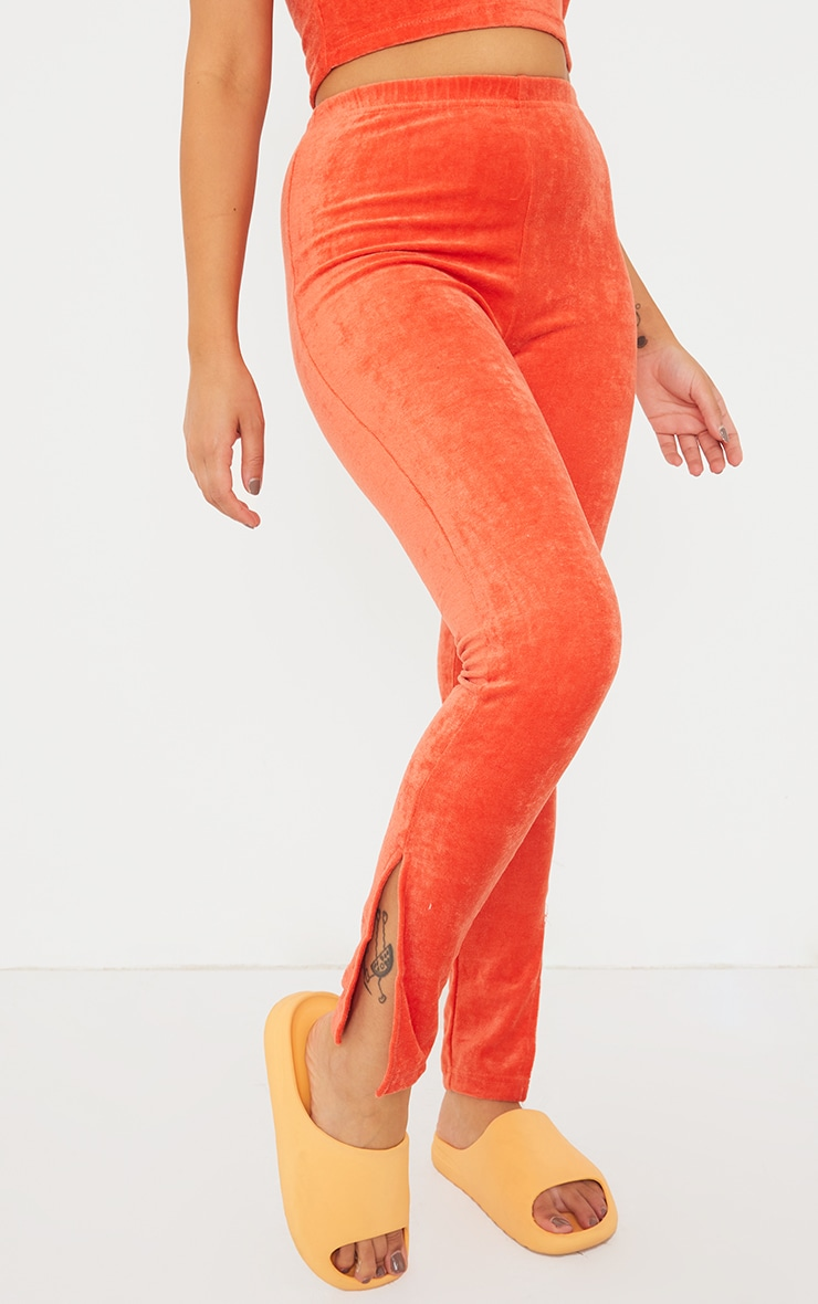 Petite Orange Velour Split Hem Leggings 2