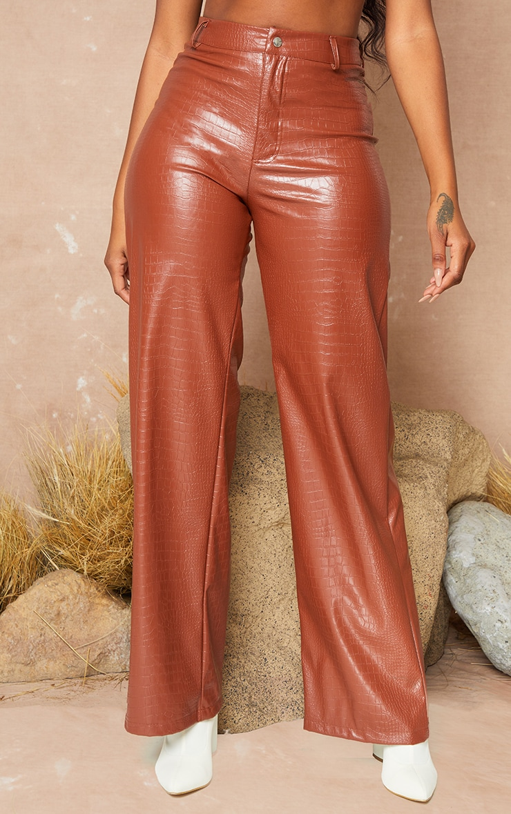 Brown Croc PU Wide Leg Trousers 3