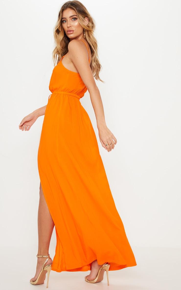 Orange Lace Trim Tie Detail Maxi Dress 2