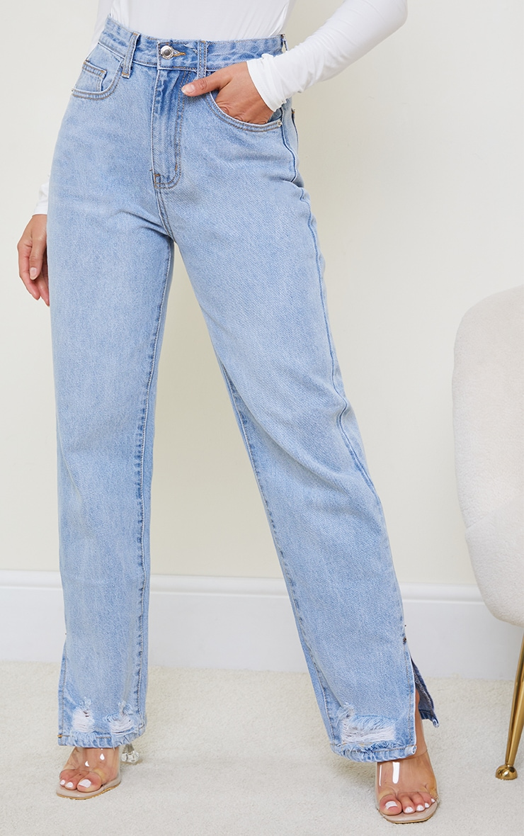Petite Light Blue Wash Distressed Split Hem Straight Leg Jeans 2