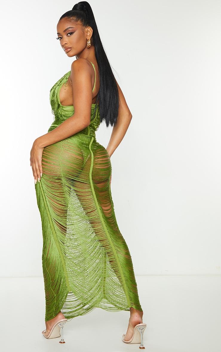 Shape Olive Fringe Detail Midaxi Dress 2