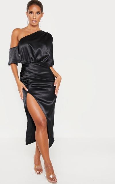 Black Satin One Shoulder Ruched Skirt Midi Dress