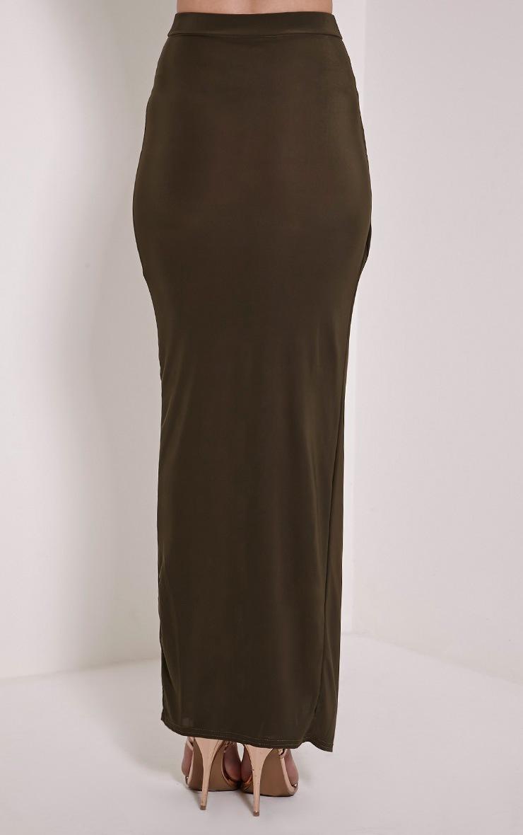 Ginevia Khaki Slinky Split Hem Maxi Skirt 3
