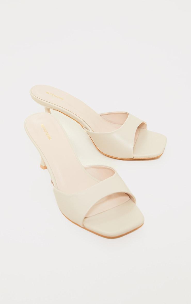 Cream Low Heeled Mules 4
