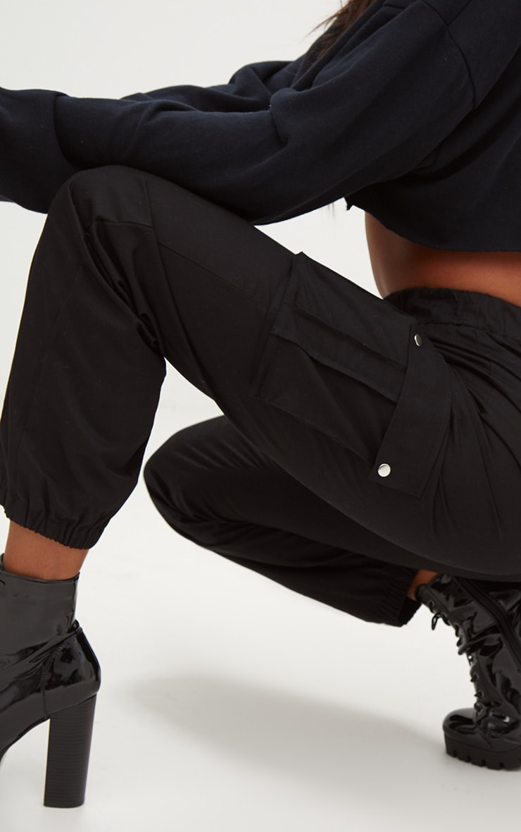 Black Pocket Detail Cargo Trousers 5
