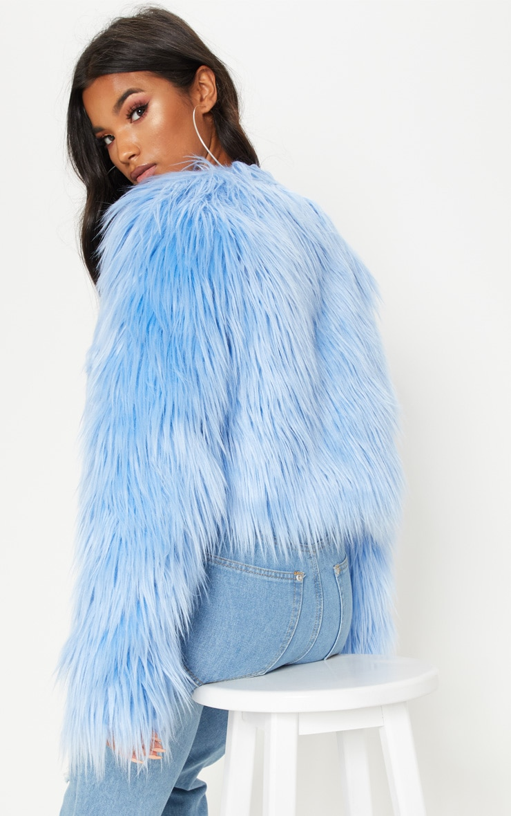 Blue Cropped Shaggy Faux Fur Jacket 2