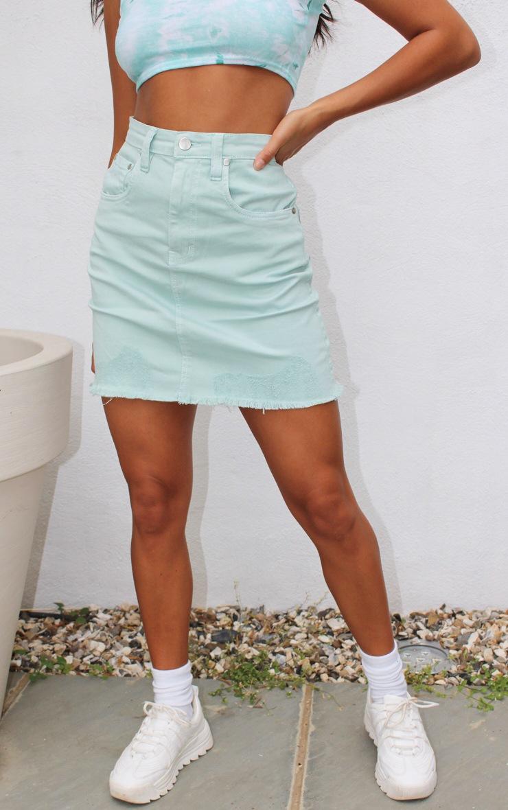 Petite Mint Distressed Hem Skirt 2