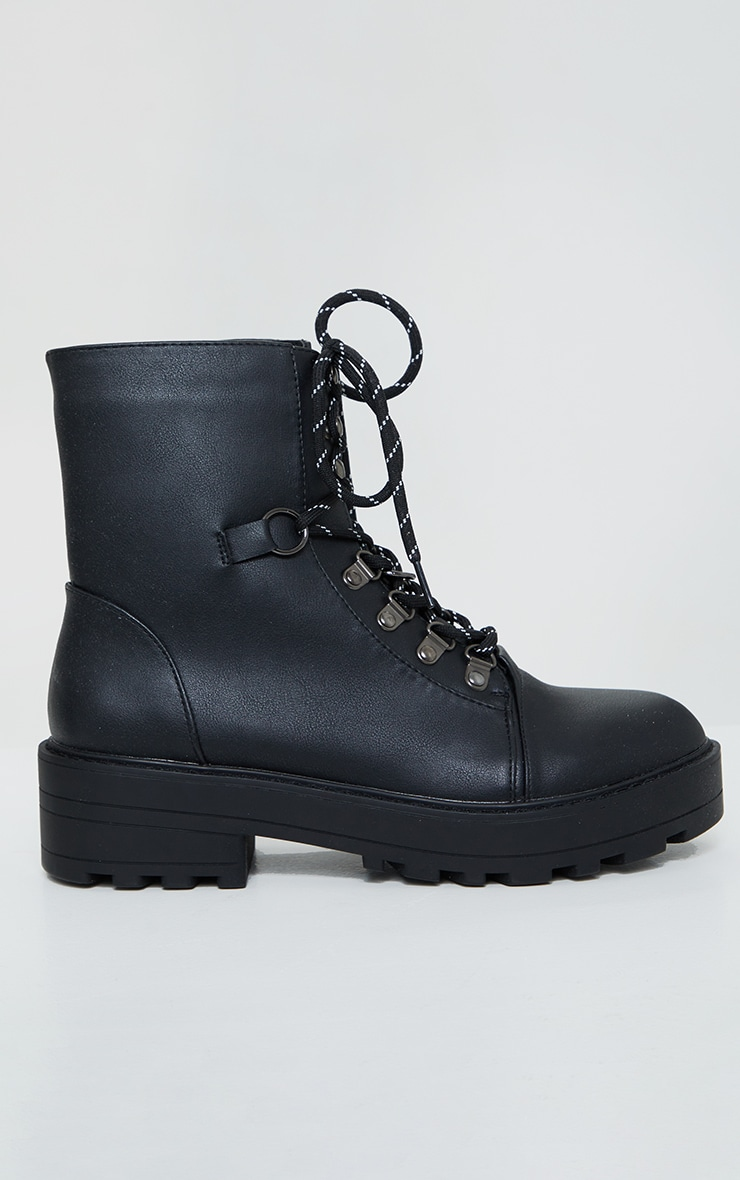 Black Soft Touch PU Chunky Hiker Laces Boots 4