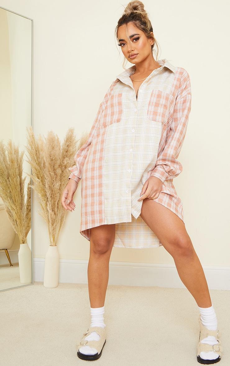 Petite Camel & Rust Mixed Checked Shirt Dress 1