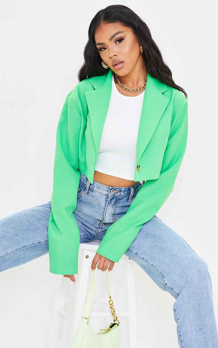 Green Cropped Blazer 1