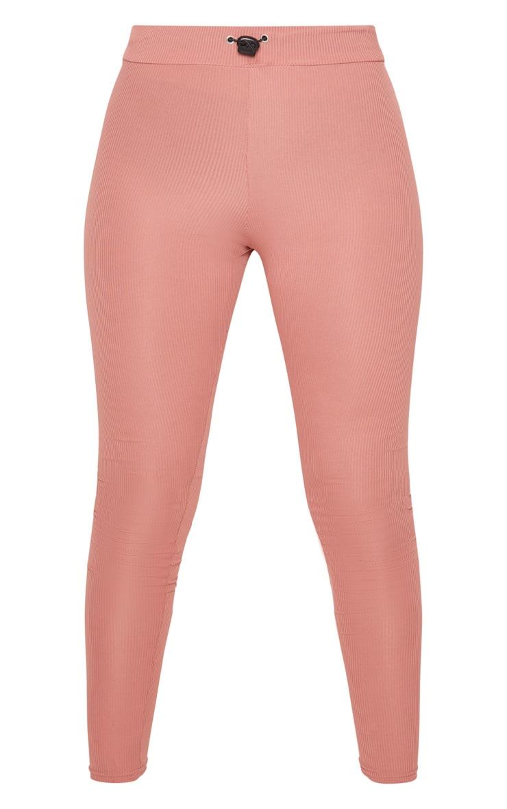 Petite Dusky Pink Ribbed Leggings 3