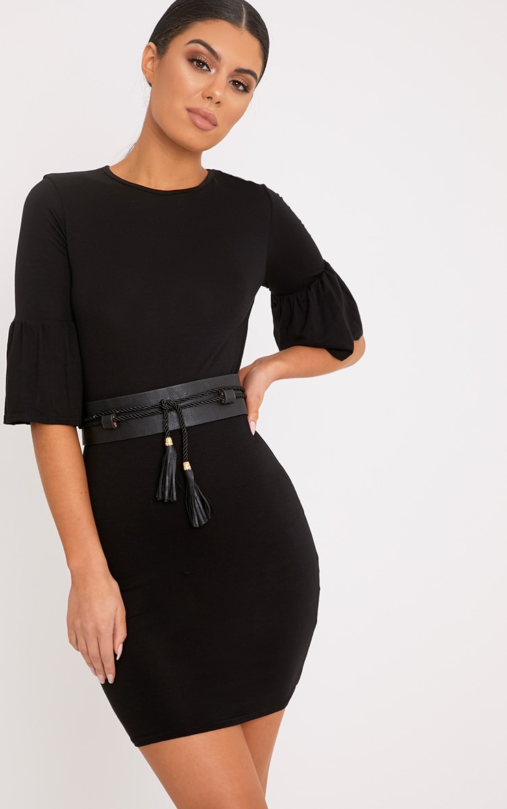 Ashlyn Black Frill Sleeve Bodycon Dress 1