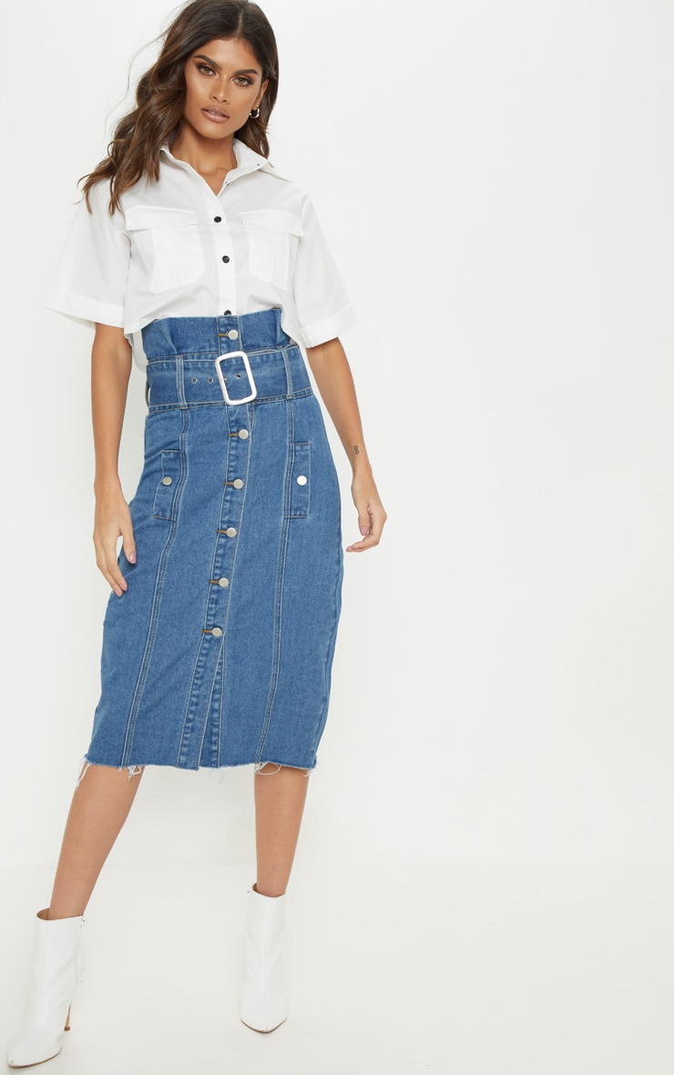 0cb21873648690 Jupe mi-longue moyennement délavée en jean à ceinture et boutons