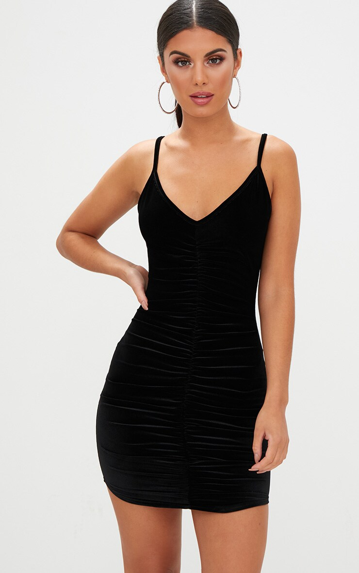 Black velvet long sleeve bodycon dress easy river island wholesale