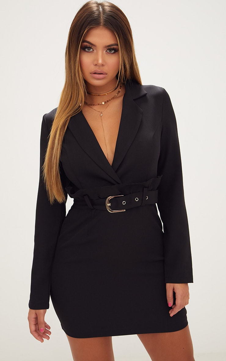 Black Frill Waist Belted Blazer Dress 1