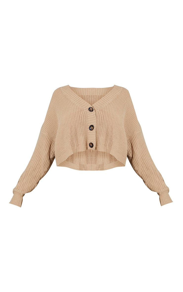 Stone Slouchy Button Up Knitted Ribbed Cardigan 5
