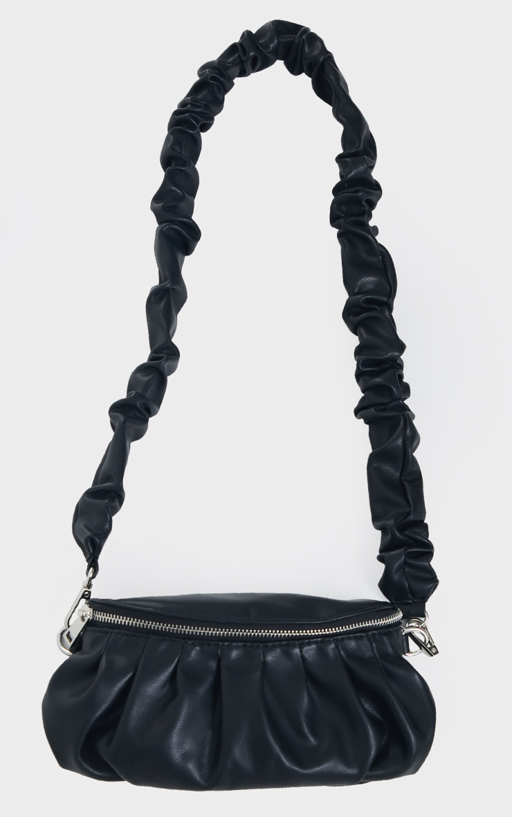 Black Ruched Strap Cross Body Bag 3
