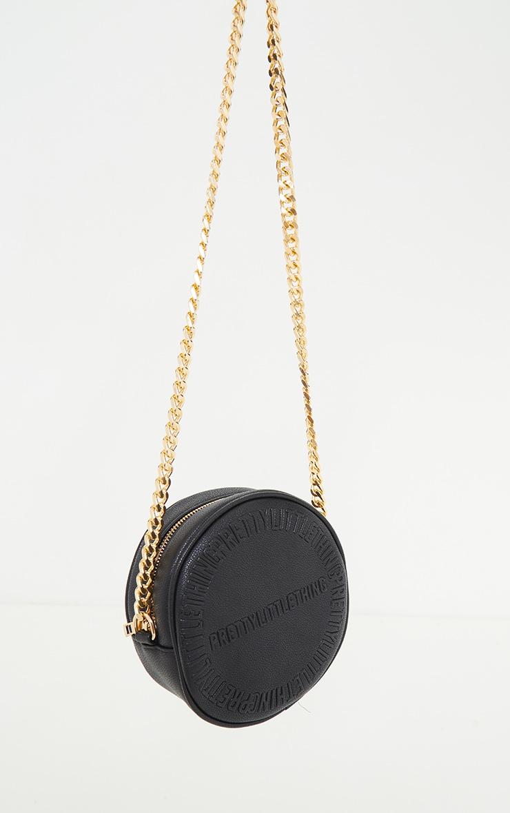 PRETTYLITTLETHING Black Embossed Round Chunky Chain Crossbody Bag 3