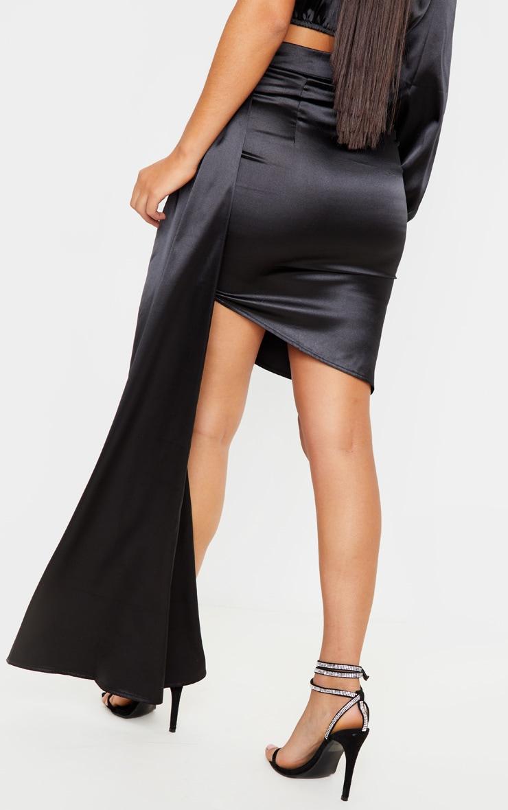 Black Ruched Satin Side Skirt 4