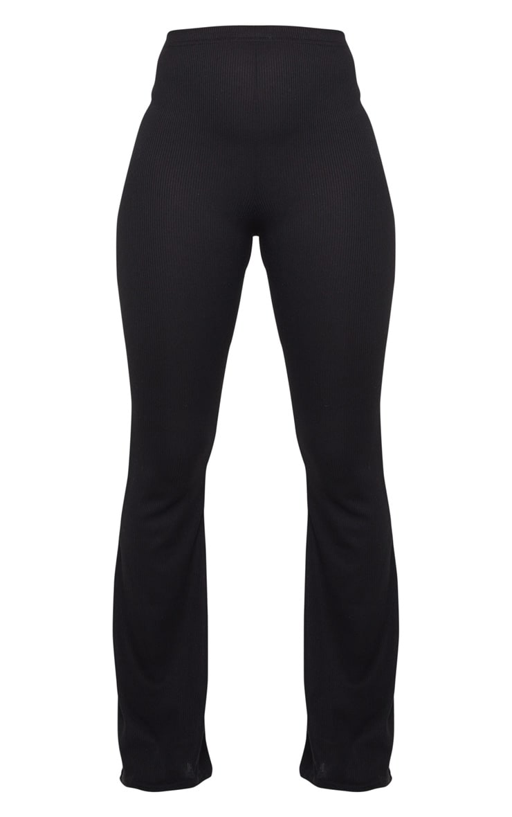 Black Ribbed Flared Trousers 5