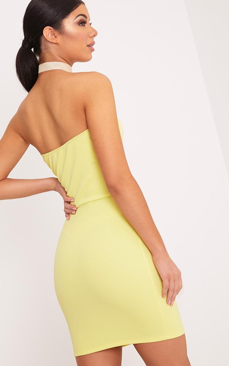 Loriella Lemon Textured Bandeau Bodycon Dress 2