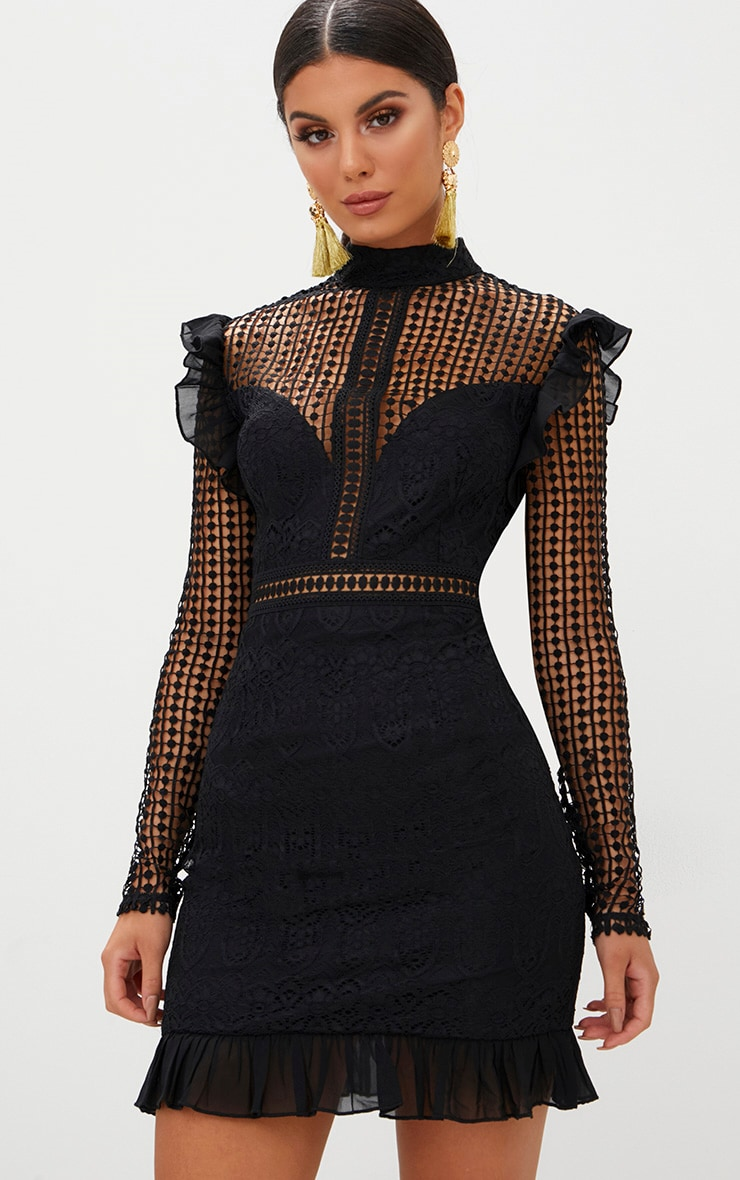 Black Lace Chiffon Frill Detail Bodycon Dress