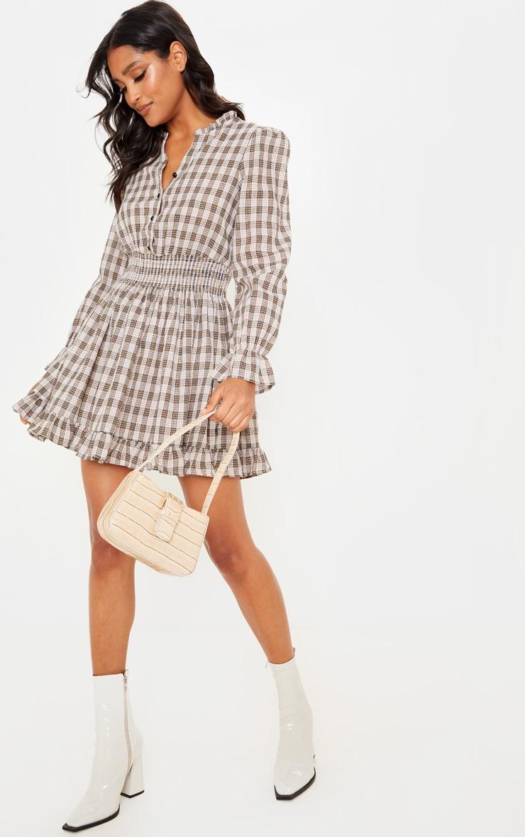 Beige Check Print Shirred Waist Shirt Dress 4