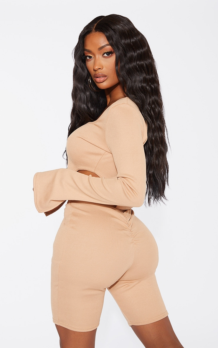 Shape Camel Rib Square Neck Cut Out Side Crop Top 2