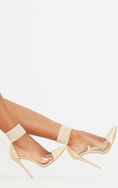 Nude Diamante Cuff Court Shoe