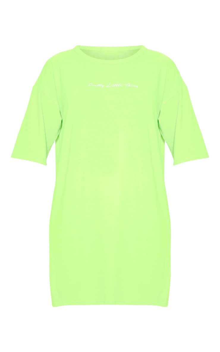 PRETTYLITTLETHING Lime Oversized Boyfriend T Shirt Dress 3