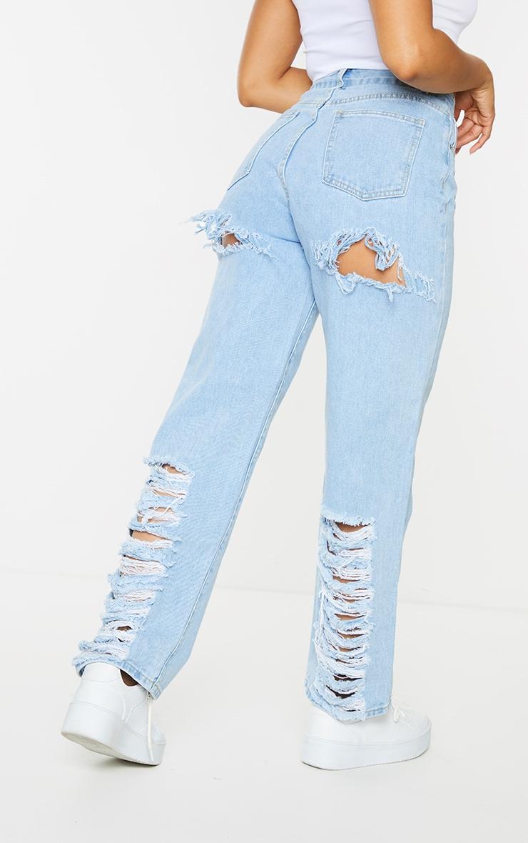 Light Wash Distressed Back Boyfriend Jeans 3