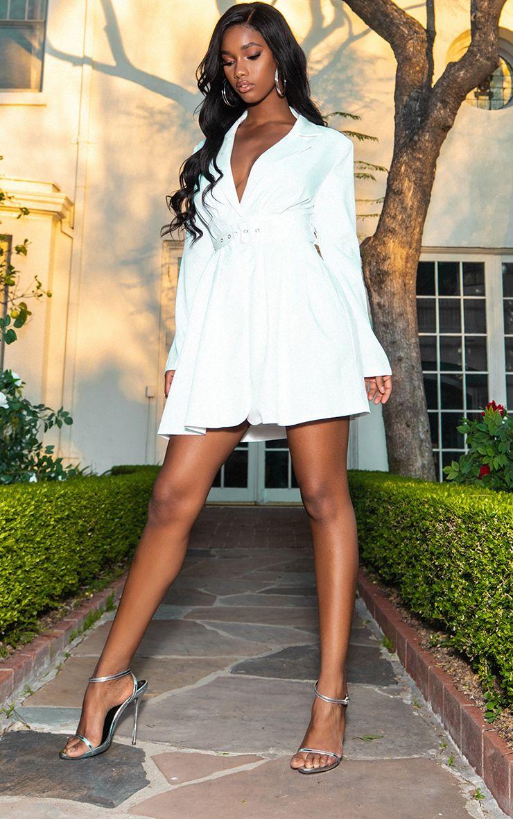 White Belt Detail Blazer Dress 1