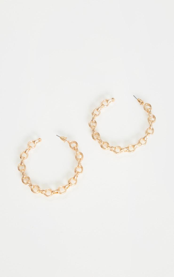 Gold Oversized Chain Twist Earrings 2
