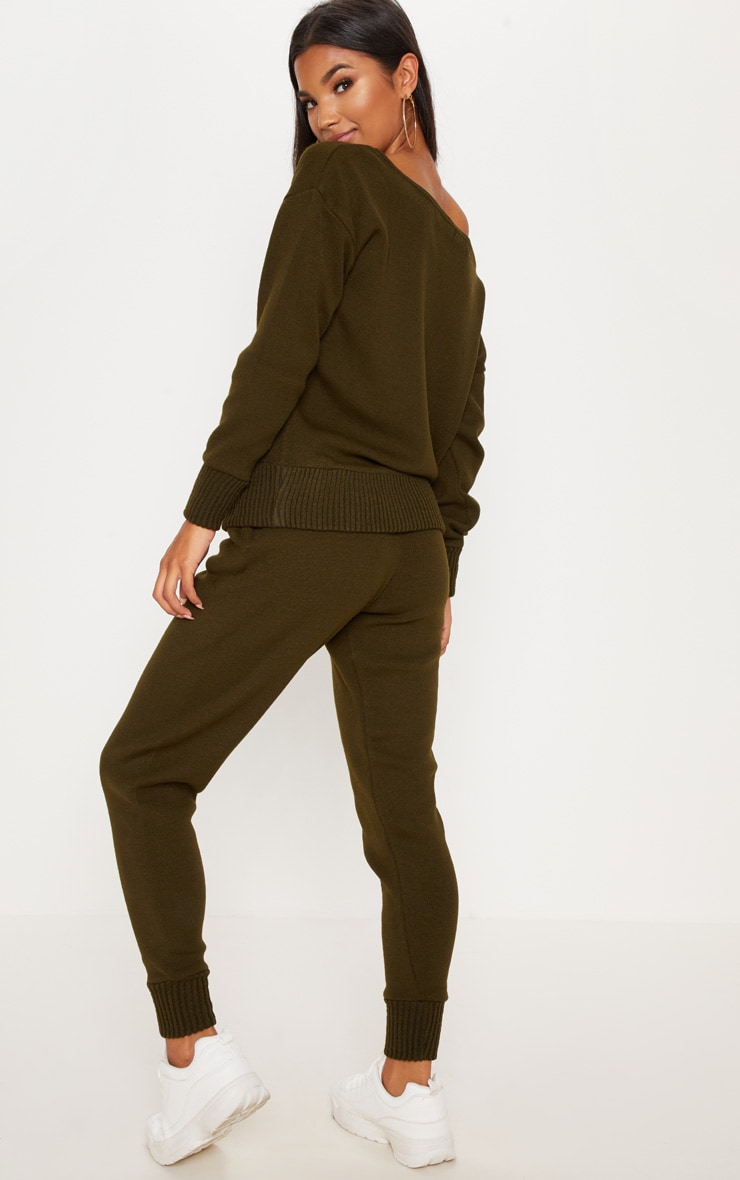 Auriel Khaki Jogger Jumper Knitted Lounge Set 2