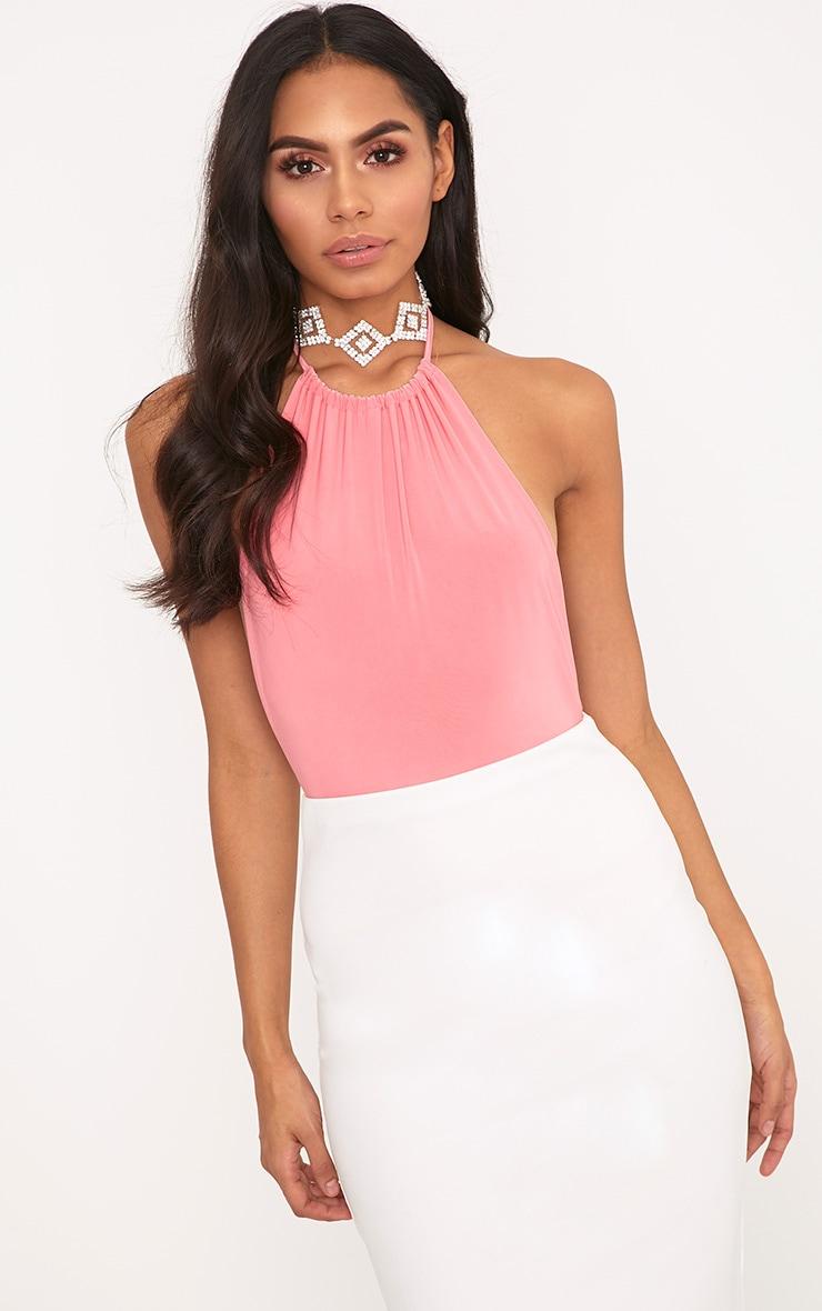 Angelika Pink High Neck Halterneck Bodysuit 2