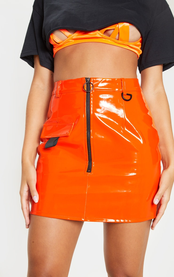 Neon Orange Vinyl Zip Detail Mini Skirt  6